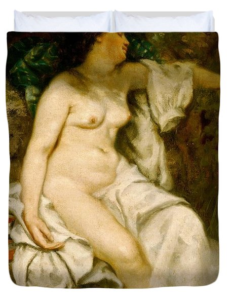 Bather Sleeping By A Brook Duvet Cover by Gustave Courbet
