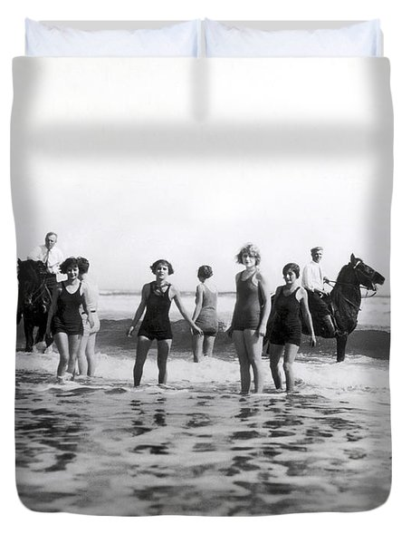 Bathers And Horses In The Surf Duvet Cover