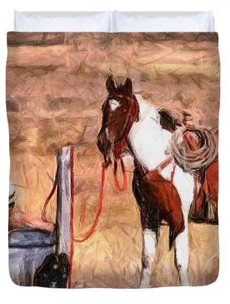 Bathing Cowgirl Duvet Cover by Murphy Elliott