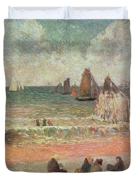 Bathing Dieppe Duvet Cover by Paul Gauguin