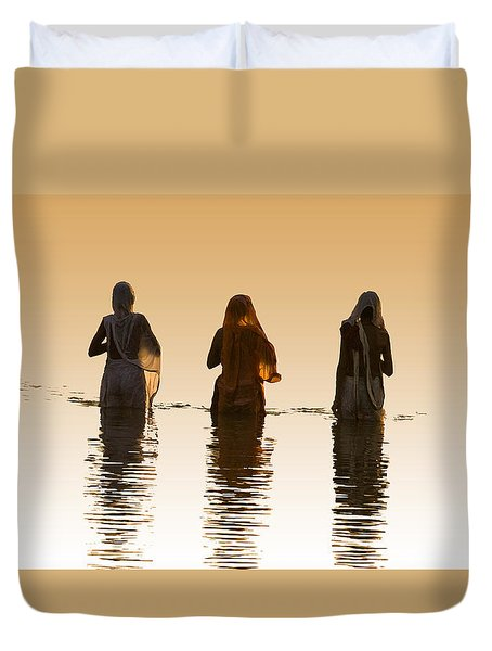 Bathing In The Holy River 2 Duvet Cover by Dominique Amendola