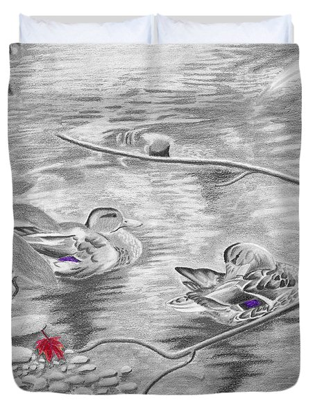 Bathing In The River Duvet Cover by Susan Schmitz