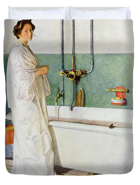 Bathroom Scene Lisbeth Duvet Cover by Carl Larsson
