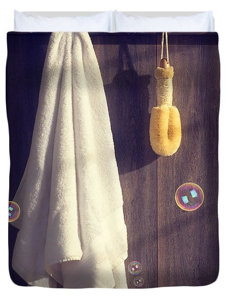 Bathroom Towel Duvet Cover by Amanda Elwell