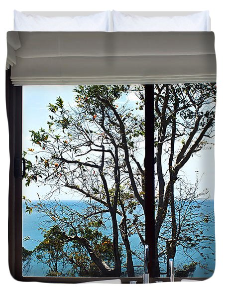Bathroom With A View Duvet Cover by Kaye Menner