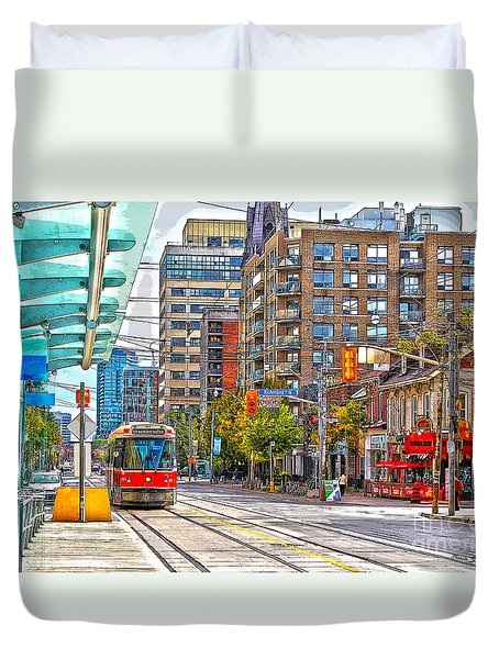 Bathurst Street Car Coming North To Queen Street Duvet Cover