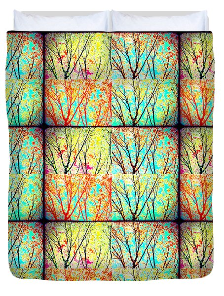 Batik Trees Collage Abstract Duvet Cover