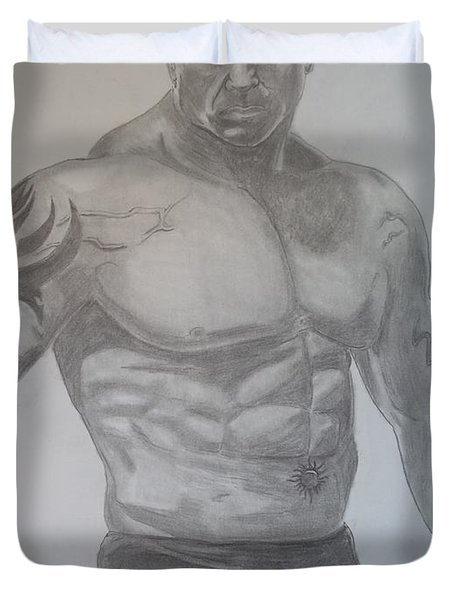 Duvet Cover featuring the drawing Batista by Justin Moore