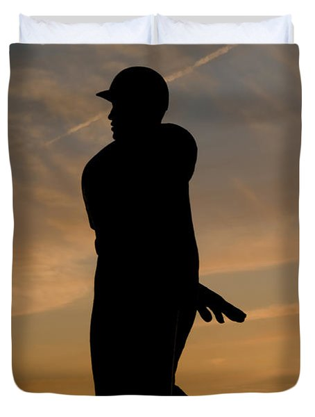 Batter At Dawn - Phillies Duvet Cover by Bill Cannon
