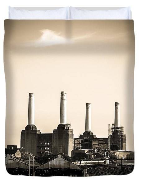 Battersea Power Station With Train Tracks Duvet Cover