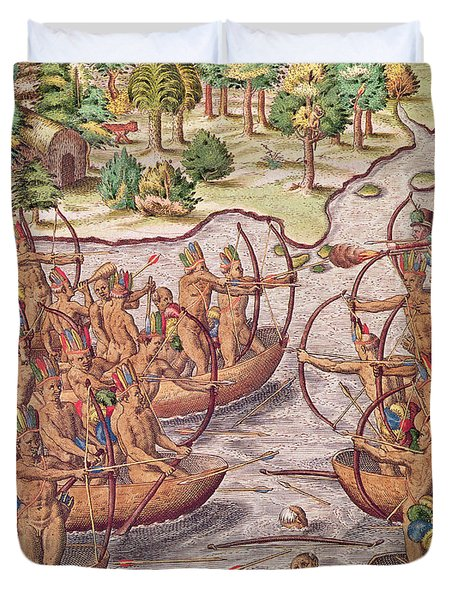 Battle Between Indian Tribes Duvet Cover by Jacques Le Moyne