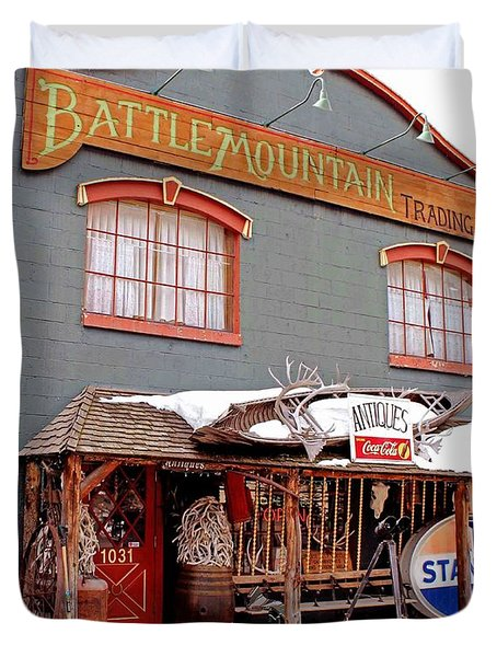 Battle Mountain Trading Post Duvet Cover by Fiona Kennard