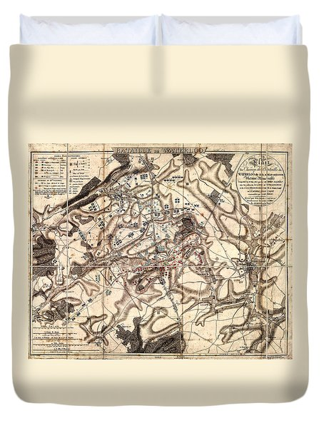 Battle Of Waterloo Old Map Duvet Cover