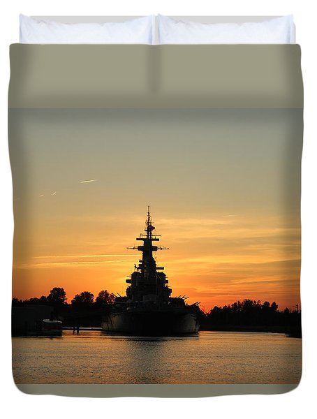 Duvet Cover featuring the photograph Battleship At Sunset by Cynthia Guinn