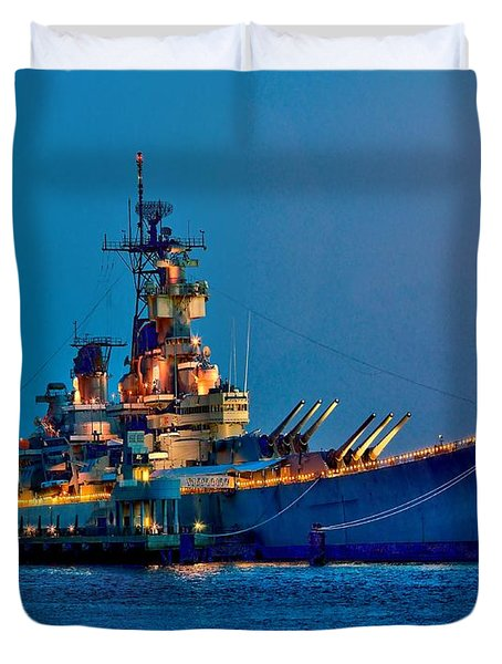 Battleship New Jersey At Night Duvet Cover