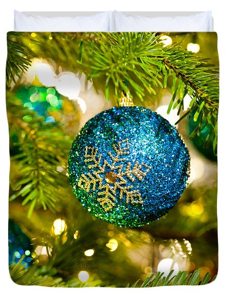 Bauble In A Christmas Tree  Duvet Cover
