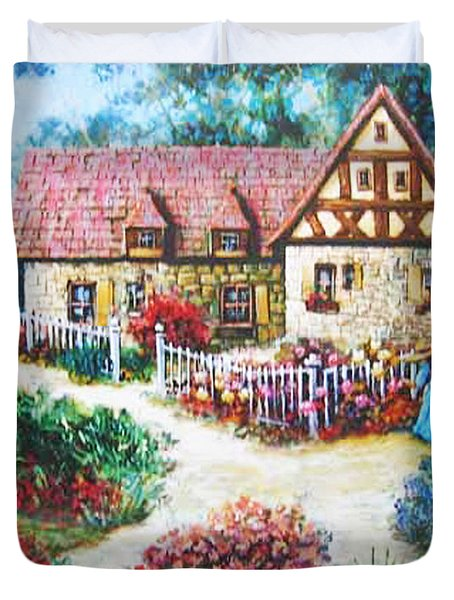 Duvet Cover featuring the painting Bavarian Cottage by Cheryl Del Toro