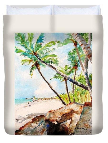 Bavaro Tropical Sandy Beach Duvet Cover by Carlin Blahnik