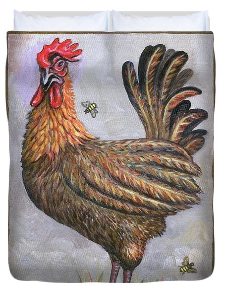 Baxter The Rooster Duvet Cover by Linda Mears