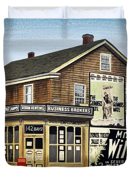 Duvet Cover featuring the painting Bay And Adelaide Streets 1910 by Kenneth M  Kirsch