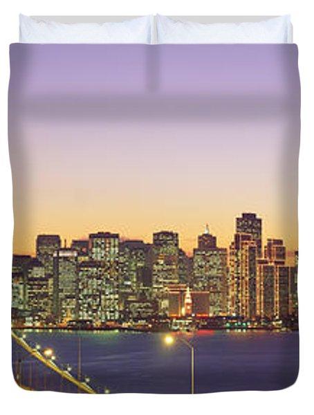 Bay Bridge At Night, San Francisco Duvet Cover