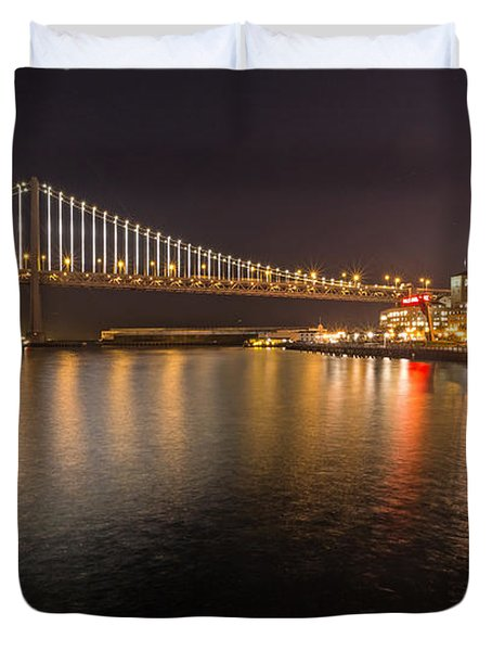 Duvet Cover featuring the photograph Bay Bridge Lights And City by Kate Brown