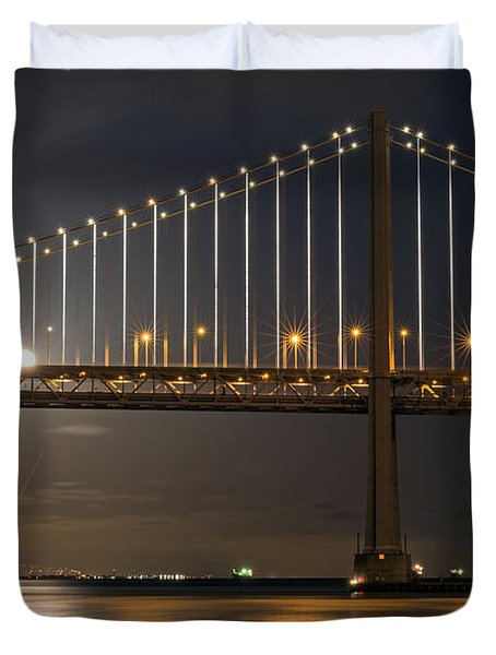 Duvet Cover featuring the photograph Bay Bridge Moon Rising by Kate Brown