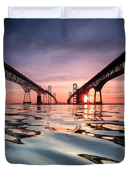 Duvet Cover featuring the photograph Bay Bridge Reflections by Jennifer Casey