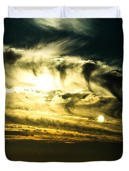 Bay Bridge Sunset Duvet Cover by Angela DeFrias