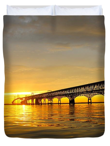 Bay Bridge Sunset Glow Duvet Cover