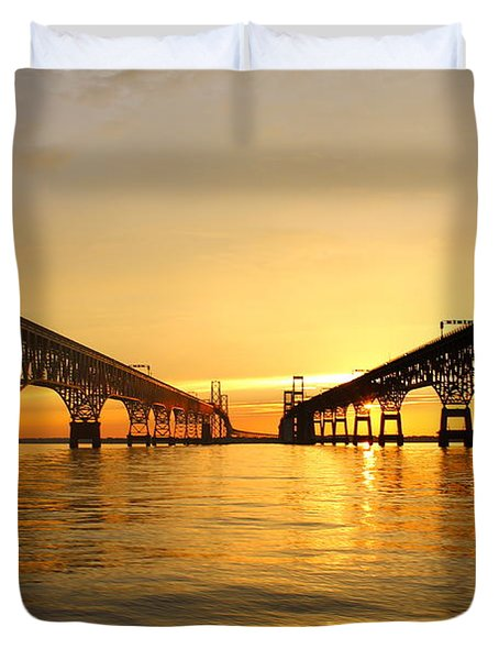Bay Bridge Sunset Duvet Cover