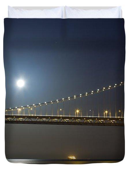 Bay Bridge Supermoon Duvet Cover