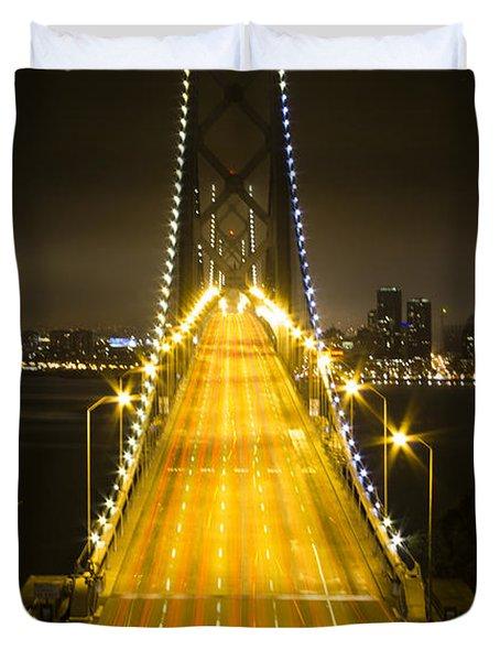 Bay Bridge Traffic Duvet Cover