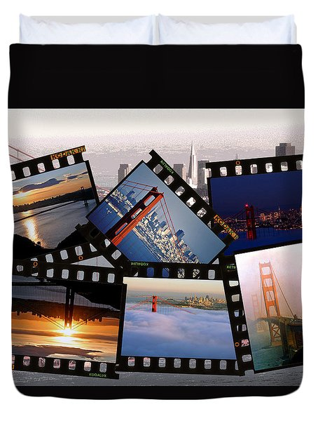 Duvet Cover featuring the photograph Golden Gate Collage by Christopher McKenzie