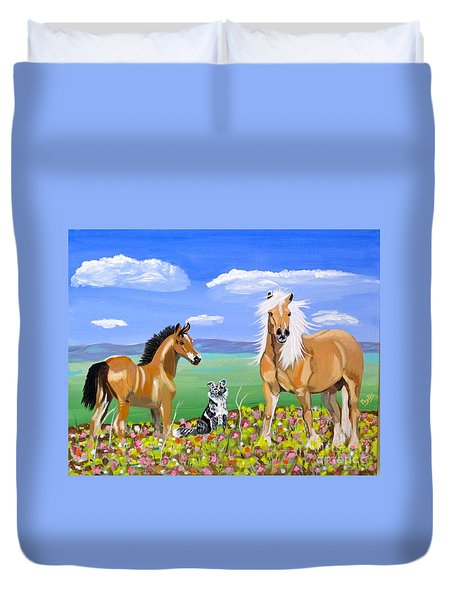 Bay Colt Golden Palomino And Pal Duvet Cover