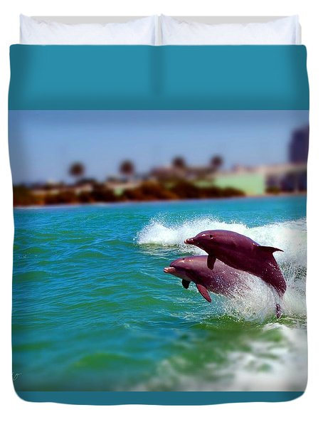Bay Dolphins Duvet Cover