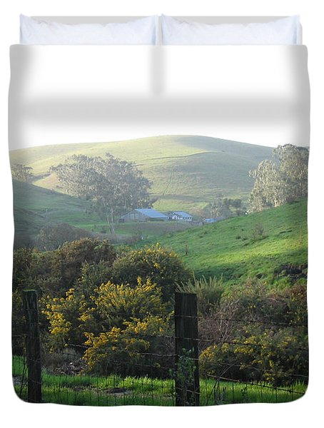 Duvet Cover featuring the drawing Bay Hill Road by Dianne Levy