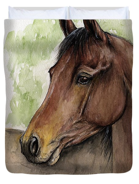 Bay Horse Portrait Watercolor Painting 02 2013 A Duvet Cover by Angel  Tarantella