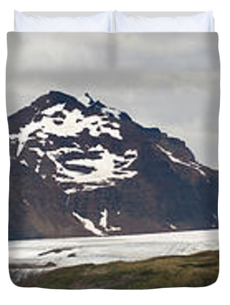 Bay In Front Of Snow Covered Mountains Duvet Cover