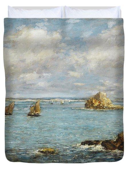Bay Of Douarnenez Duvet Cover by Eugene Louis Boudin