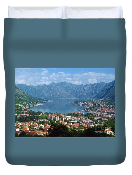 Duvet Cover featuring the photograph Bay Of Kotor - Montenegro by Phil Banks