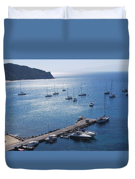 Duvet Cover featuring the photograph Bay Of Porto by George Katechis