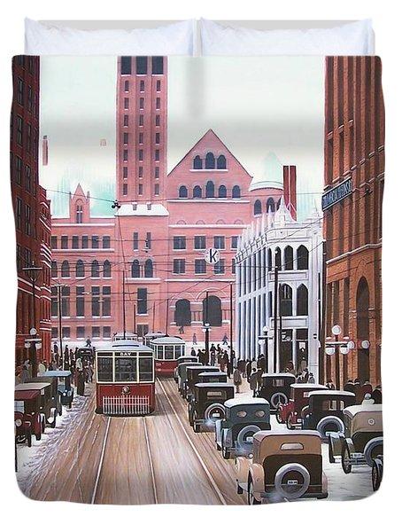 Bay Street Christmas Eve 1924 Duvet Cover by Kenneth M  Kirsch