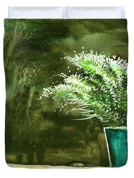 Bay Window Plant Duvet Cover by Anil Nene
