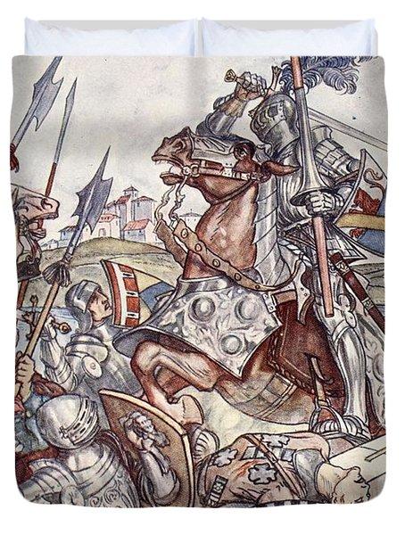 Bayard Defends The Bridge, Illustration Duvet Cover