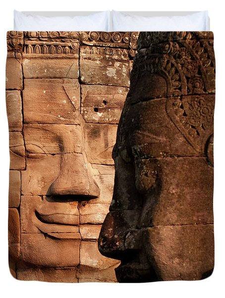 Bayon Faces 02 Duvet Cover by Rick Piper Photography