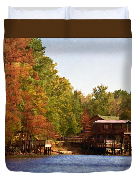 Duvet Cover featuring the photograph Bayou Banks by Lana Trussell