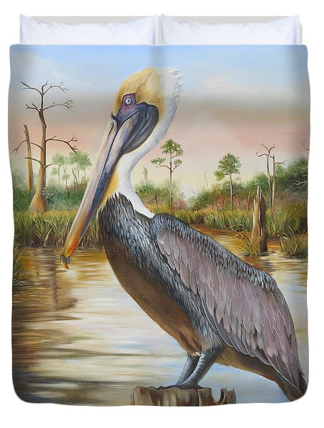 Bayou Coco Point Pelican Duvet Cover by Phyllis Beiser