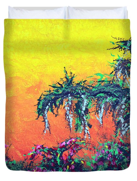 Duvet Cover featuring the painting Bayou Honeymoon by Alys Caviness-Gober