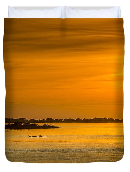 Bayport Dolphins Duvet Cover by Marvin Spates